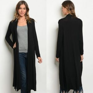Sweaters - Long Sleeve Black Jersey Open Cardigan